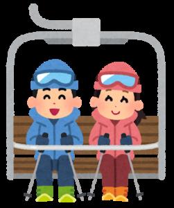 有給休暇でスキーに来たカップルの画像
